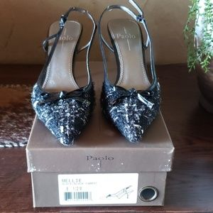 Paolo sling back Mellie Black and white fabric